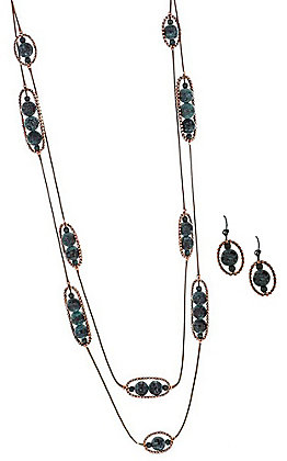 Copper and Patina Stone Jewelry Set