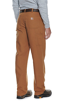 Carhartt Men's Duck Brown Washed Duck Loose Original Fit Dungaree Work Pants