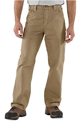 Carhartt Men's Dark Khaki Canvas Straight Leg Original Loose Fit Dungaree Work Pants