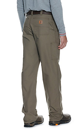 Carhartt Men's Brown Canvas Straight Leg Original Loose Fit Dungaree Work Pants