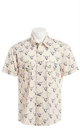 Rock & Roll Cowboy Cream Skull Print Short Sleeve Western Shirt