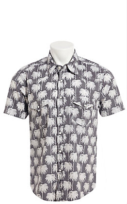 Rock & Roll Cowboy Grey With White Palm Tree Print Short Sleeve Western Shirt