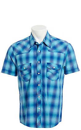 Rock & Roll Cowboy Turquoise Plaid Short Sleeve Western Shirt