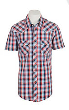 Rock & Roll Cowboy Men's Light Blue and Red Plaid Short Sleeve Western Snap Shirt