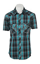 Rock & Roll Cowboy Men's Blue and Black Plaid Short Sleeve Western Snap Shirt