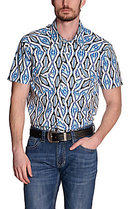 Rock & Roll Cowboy Men's White with Blue Aztec Print Short Sleeve Western Shirt