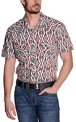 Rock & Roll Cowboy Men's White with Wine & Turquoise Aztec Print Short Sleeve Western Shirt