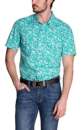 Rock & Roll Cowboy Men's Turquoise with White Paisley Print Short Sleeve Western Shirt