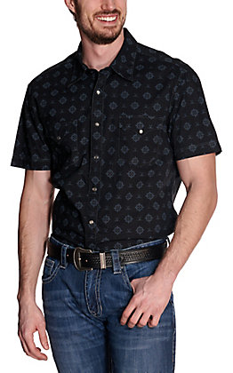 Rock & Roll Cowboy Men's Black with Grey Medallion Print Short Sleeve Western Shirt