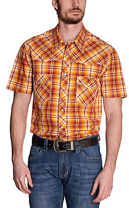 Rock & Roll Cowboy Men's Wine & Gold Plaid Short Sleeve Western Shirt