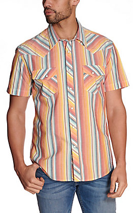 Rock & Roll Cowboy Men's Orange & Blue Stripe Short Sleeve Western Shirt