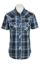 Rock & Roll Cowboy Men's Black, Blue, and White Plaid S/S Shirt