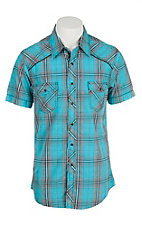 Rock & Roll Cowboy Men's Light Blue, Grey, and Black Plaid S/S Shirt