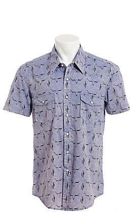 Rock & Roll Cowboy Blue Cactus & Skull Print Short Sleeve Western Shirt
