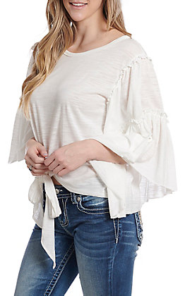 UMGEE Women's White Front Tie Bell Sleeve Fashion Top