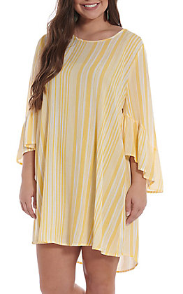 UMGEE Women's Yellow And White Striped Bell Sleeve Dress