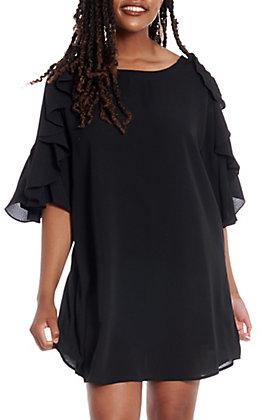 UMGEE Women's Black Ruffle Bell Sleeve Dress