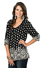 Angie Women's Black and Ivory Print Long Cinched Sleeve Fashion Top