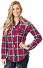 Angie Women's Red & Blue Plaid Long Sleeve Flannel Shirt