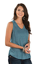 Angie Women's Blue Casual Knit Top