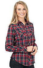 Angie Women's Red Plaid Long Sleeve Flannel Shirt