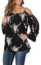Angie Women's Black with Floral Skull Print and Crochet Cold Shoulder Long Sleeve Fashion Top