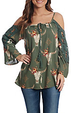 Angie Women's Olive Floral Skull Print and Crochet Cold Shoulder Long Sleeve Fashion Top