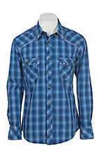Rock & Roll Cowboy Men's Blue Plaid Long Sleeve Western Snap Shirt