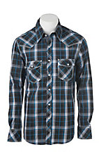 Rock & Roll Cowboy Black and Blue Plaid Long Sleeve Western Snap Shirt