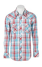 Rock & Roll Cowboy Men's Red, White, and Blue Plaid Long Sleeve Western Snap Shirt