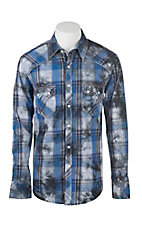 Rock & Roll Cowboy Men's Blue Plaid L/S Western Snap Shirt