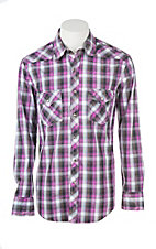 Rock & Roll Cowboy Men's Purple Plaid L/S Western Snap Shirt
