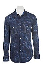 Rock & Roll Cowboy Men's Indigo Paisley Print Long Sleeve Western Snap Shirt