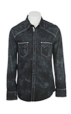 Rock & Roll Cowboy Men's Dark Teal Paisley Print Long Sleeve Western Snap Shirt