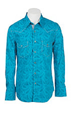 Rock & Roll Cowboy Men's Turquoise Paisley Print Long Sleeve Western Snap Shirt