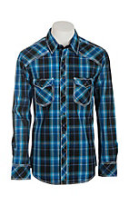 Rock & Roll Cowboy Men's Navy Plaid Long Sleeve Western Snap Shirt