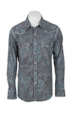 Rock & Roll Cowboy Grey Paisley Long Sleeve Western Snap Shirt