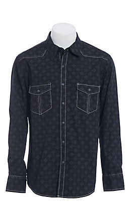 Rock &Roll Cowboy Black Medallion Print Long Sleeve Western Shirt