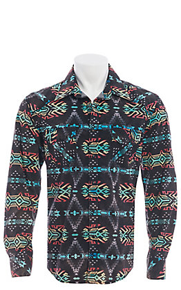 Rock and Roll Cowboy Men's Black Aztec Print Long Sleeve Western Shirt