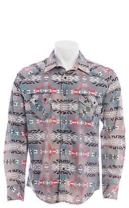 Rock and Roll Cowboy Men's Grey Aztec Print Long Sleeve Western Shirt