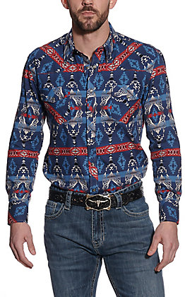 Rock & Roll Cowboy Men's Blue & Red Aztec Print Long Sleeve Western Shirt