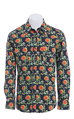 Rock & Roll Cowboy Dale Brisby Cactus Print Long Sleeve Western Shirt