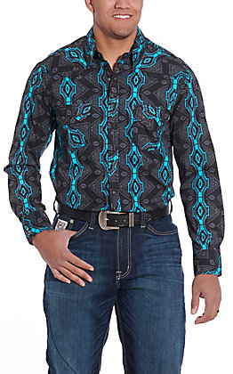 Rock and Roll Cowboy Men's Teal Aztec Print Long Sleeve Western Shirt