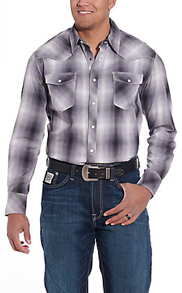 Rock and Roll Cowboy Men's Charcoal Plaid Long Sleeve Western Shirt
