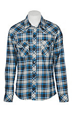 Rock and Roll Cowboy Men's Blue and Black Plaid L/S Flame Resistant Snap Work Shirt