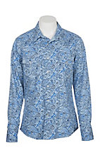 Rock and Roll Cowboy Men's Blue and Black Paisley L/S Flame Resistant Snap Work Shirt