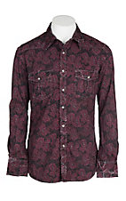 Rock & Roll Cowboy Burgundy Crinkle Wash Paisley Western Snap Shirt
