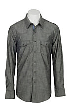 Rock & Roll Cowboy Men's Solid Straited Grey L/S Western Snap Shirt