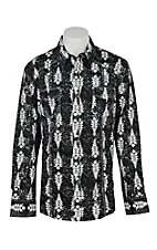 Rock & Roll Cowboy Men's Black & White Aztec Print L/S Western Snap Shirt