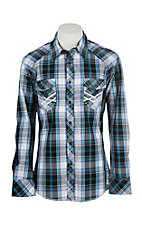 Rock & Roll Cowboy Navy, Grey & White Plaid L/S Western Snap Shirt